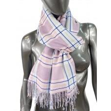 На фото 1 - Лёгкий клетчатый шарф-палантин из хлопка и бамбука, цвет тёмно-розовый
