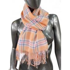 На фото 1 - Лёгкий клетчатый шарф-палантин из хлопка и бамбука, цвет светло-оранжевый