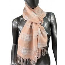 На фото 1 - Лёгкий клетчатый шарф-палантин из хлопка и бамбука, цвет персиковый