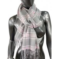 На фото 1 - Лёгкий клетчатый шарф-палантин из хлопка и бамбука, цвет серый