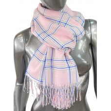 На фото 1 - Лёгкий клетчатый шарф-палантин из хлопка и бамбука, цвет розовый
