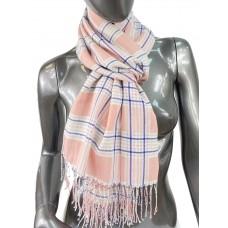 На фото 1 - Лёгкий клетчатый шарф-палантин из хлопка и бамбука, цвет лососевый