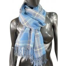 На фото 1 - Лёгкий клетчатый шарф-палантин из хлопка и бамбука, цвет голубой