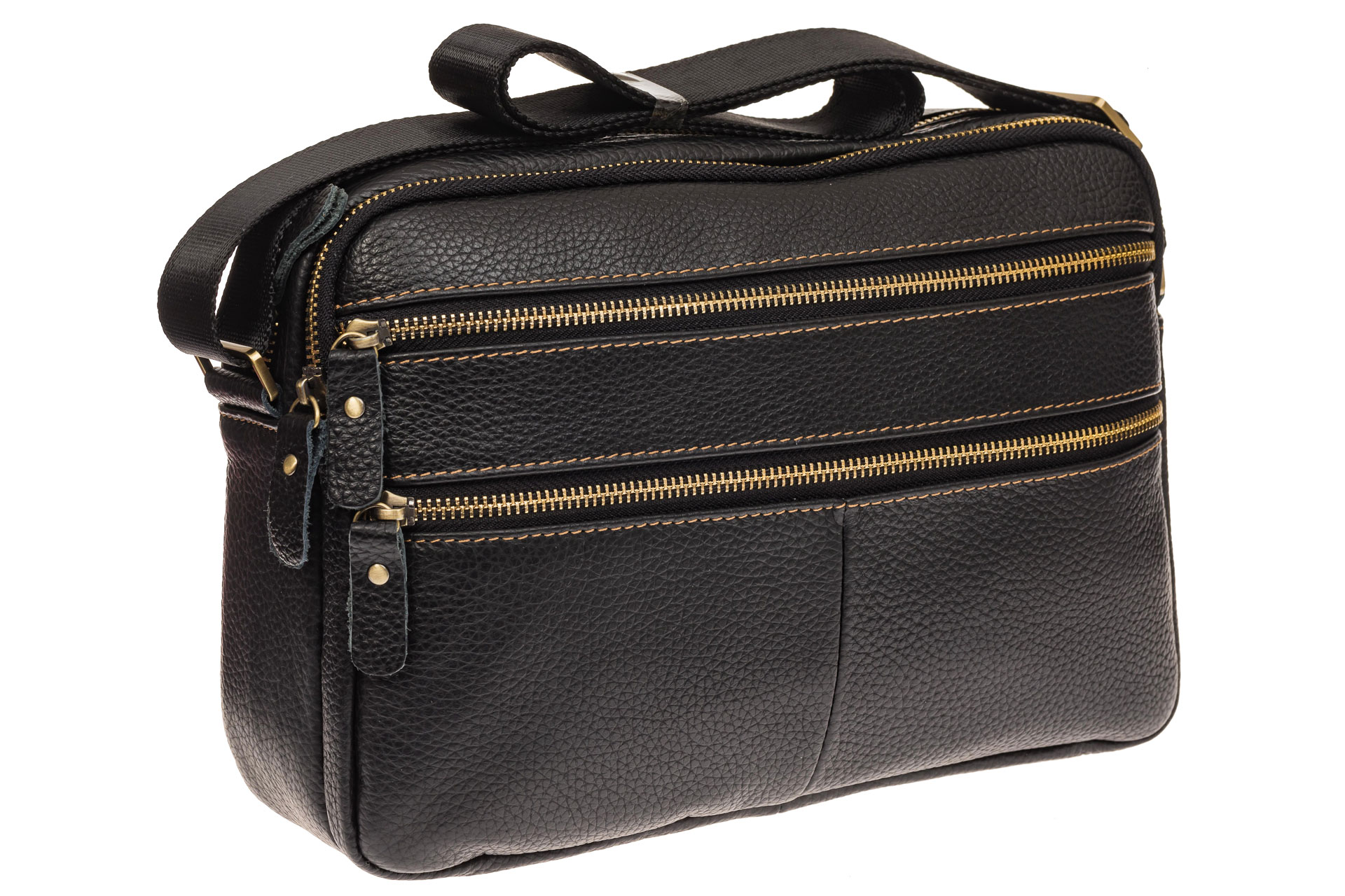 На фото 1 - Мужская сумка с золотистой фурнитурой, натуральная кожа
