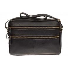 На фото 2 - Мужская сумка с золотистой фурнитурой, натуральная кожа
