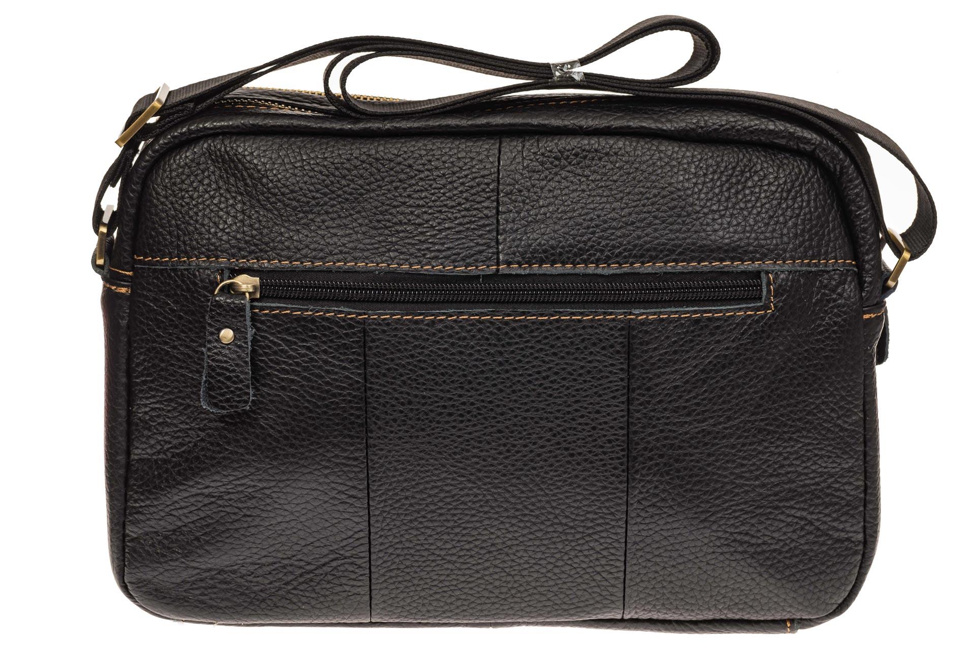 На фото 3 - Мужская сумка с золотистой фурнитурой, натуральная кожа