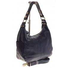 На фото 1 - Синяя сумка Хобо из натуральной кожи 0818