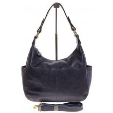 На фото 2 - Синяя сумка Хобо из натуральной кожи 0818