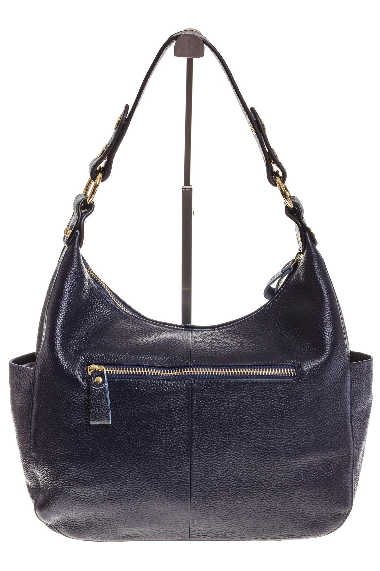 На фото 3 - Синяя сумка Хобо из натуральной кожи 0818