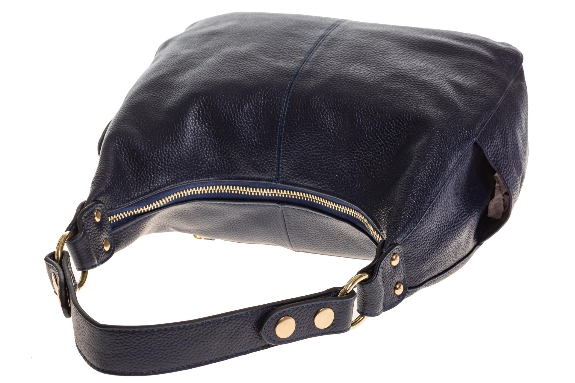 На фото 4 - Синяя сумка Хобо из натуральной кожи 0818
