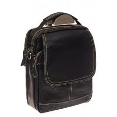 На фото 1 - Мужская сумка с контрастной прострочкой, натуральная кожа