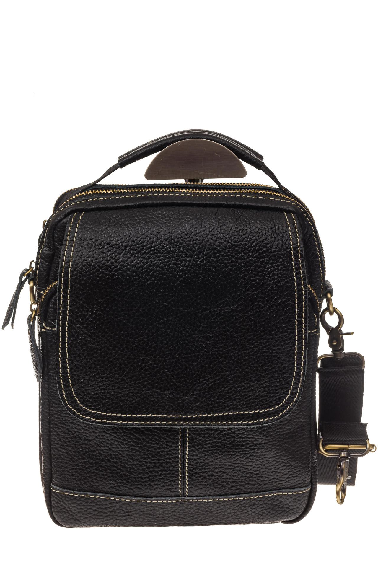 На фото 2 - Мужская сумка с контрастной прострочкой, натуральная кожа