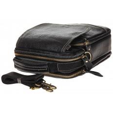 На фото 4 - Мужская сумка с контрастной прострочкой, натуральная кожа