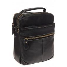 На фото 1 - Мужская сумка из натуральной кожи с золотистой фурнитурой