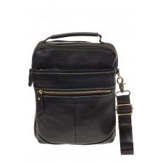 На фото 2 - Мужская сумка из натуральной кожи с золотистой фурнитурой