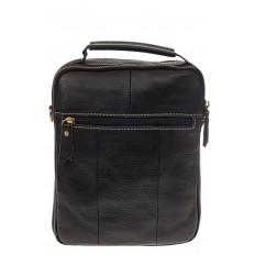 На фото 3 - Мужская сумка из натуральной кожи с золотистой фурнитурой
