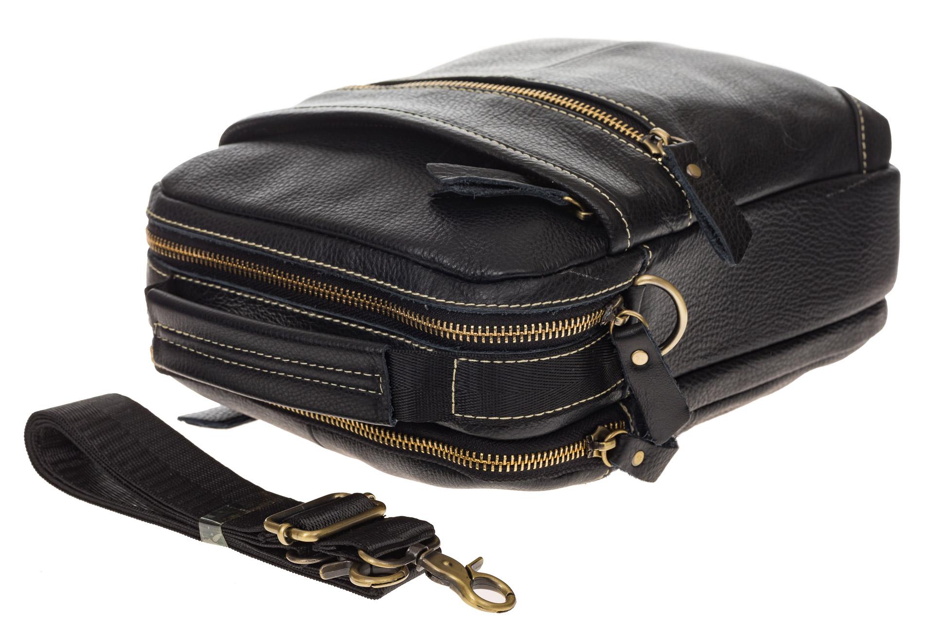 На фото 4 - Мужская сумка из натуральной кожи с золотистой фурнитурой