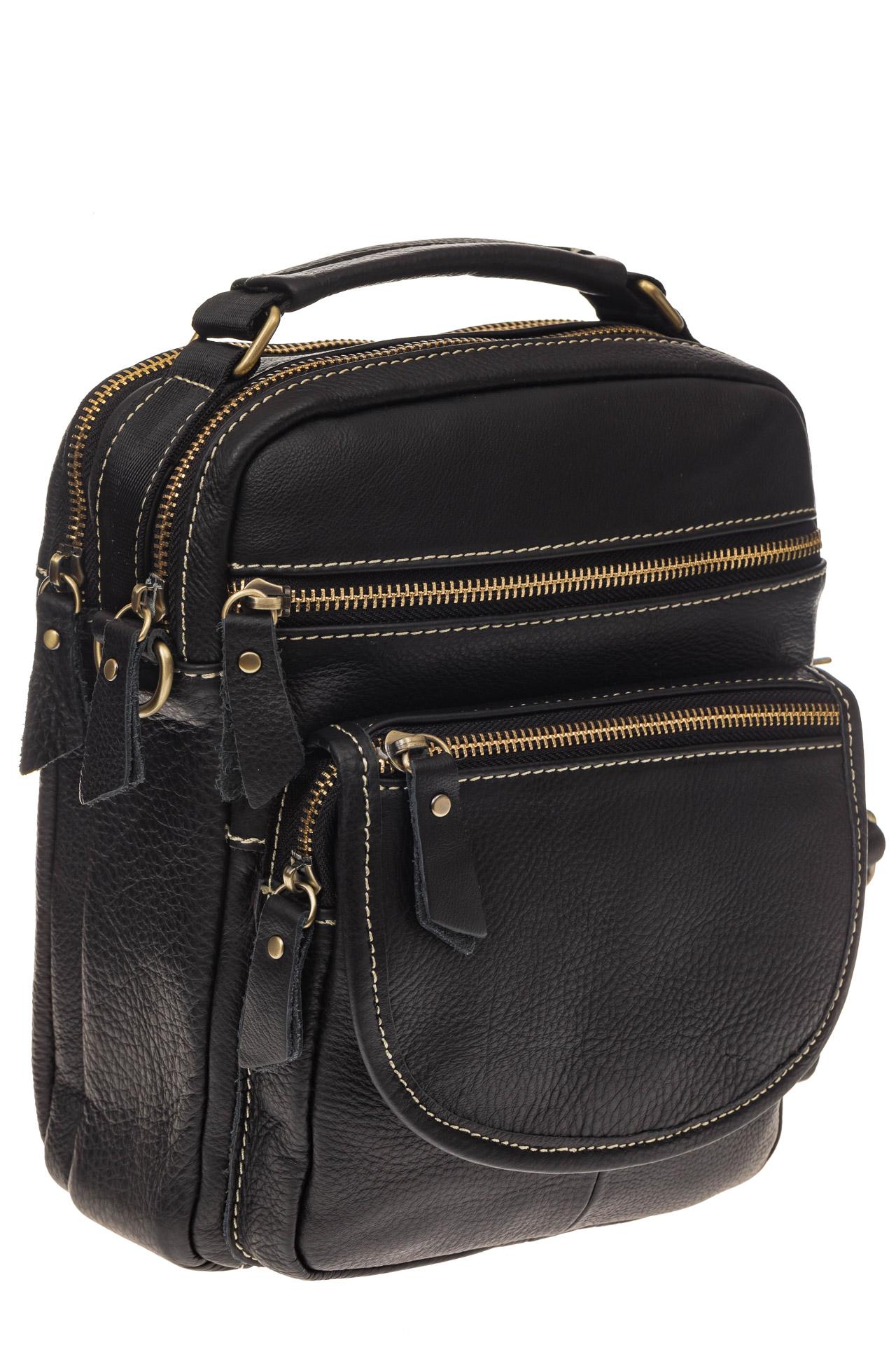 На фото 1 - Мужская сумка из натуральной кожи, с клапаном