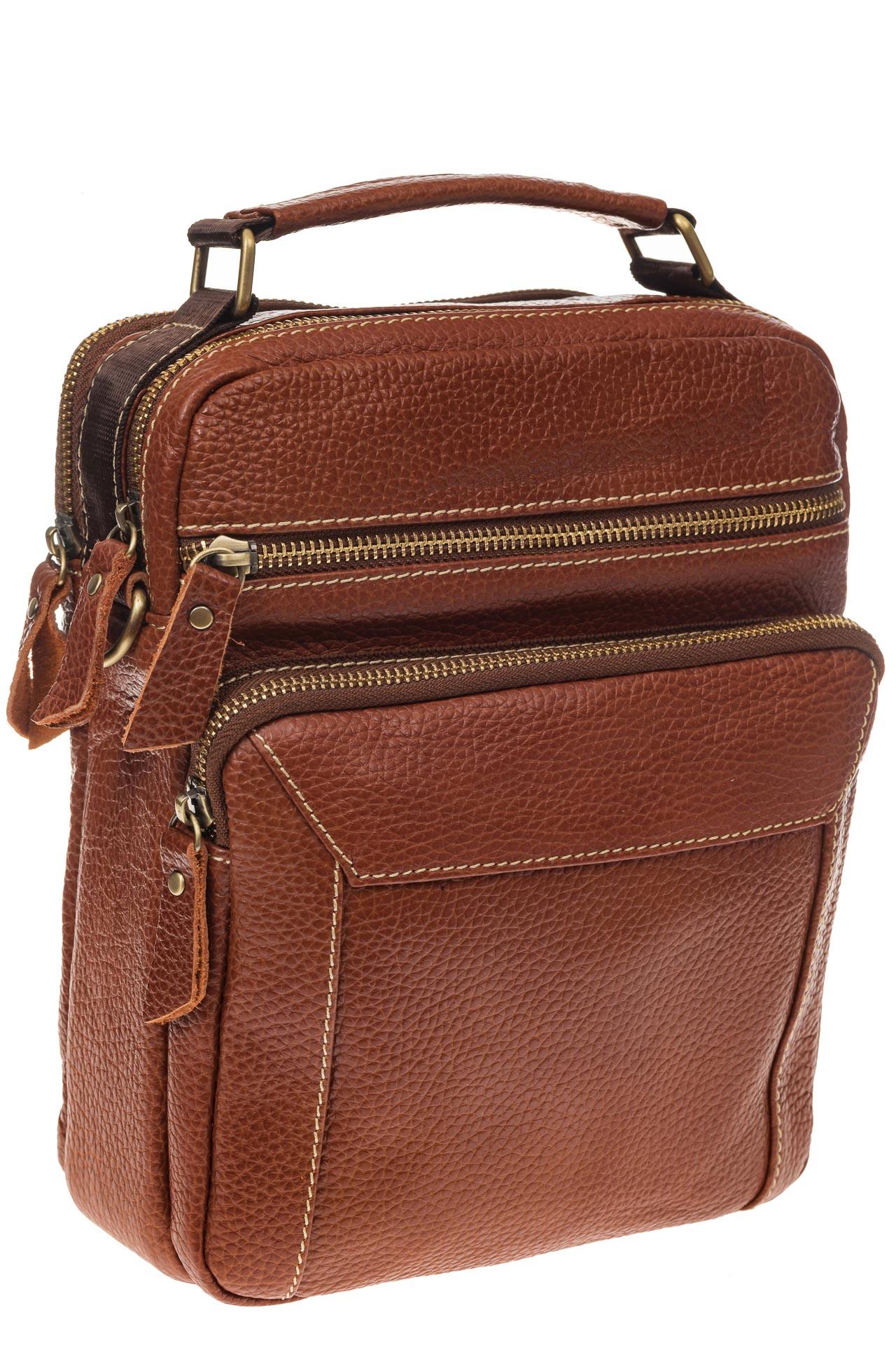 На фото 1 - Рыжая мужская сумка из натуральной зернистой кожи