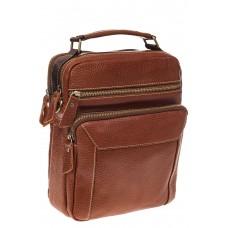 На фото 1 - Рыжая мужская сумка из натуральной зернисто...