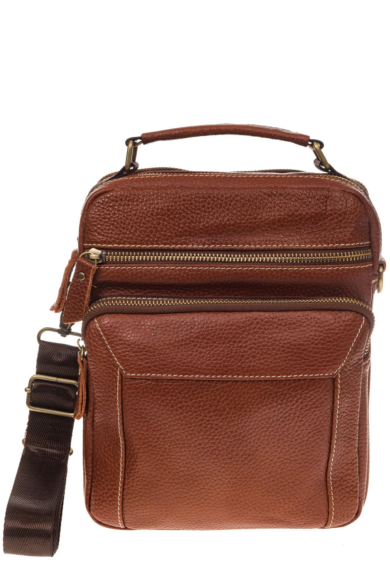 На фото 2 - Рыжая мужская сумка из натуральной зернистой кожи