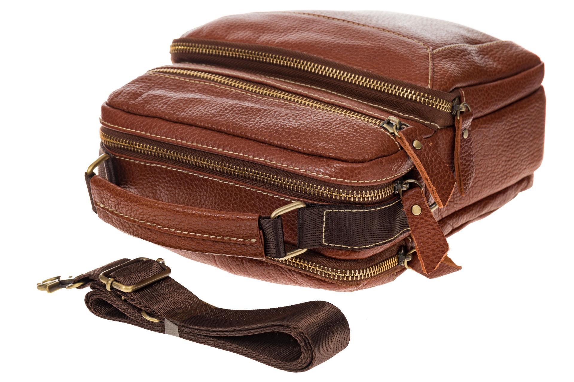 На фото 4 - Рыжая мужская сумка из натуральной зернистой кожи