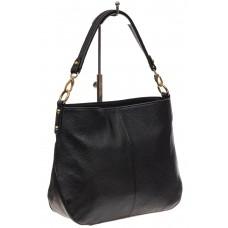 На фото 1 - Женская сумка из натуральной зернистой кожи, цвет черный