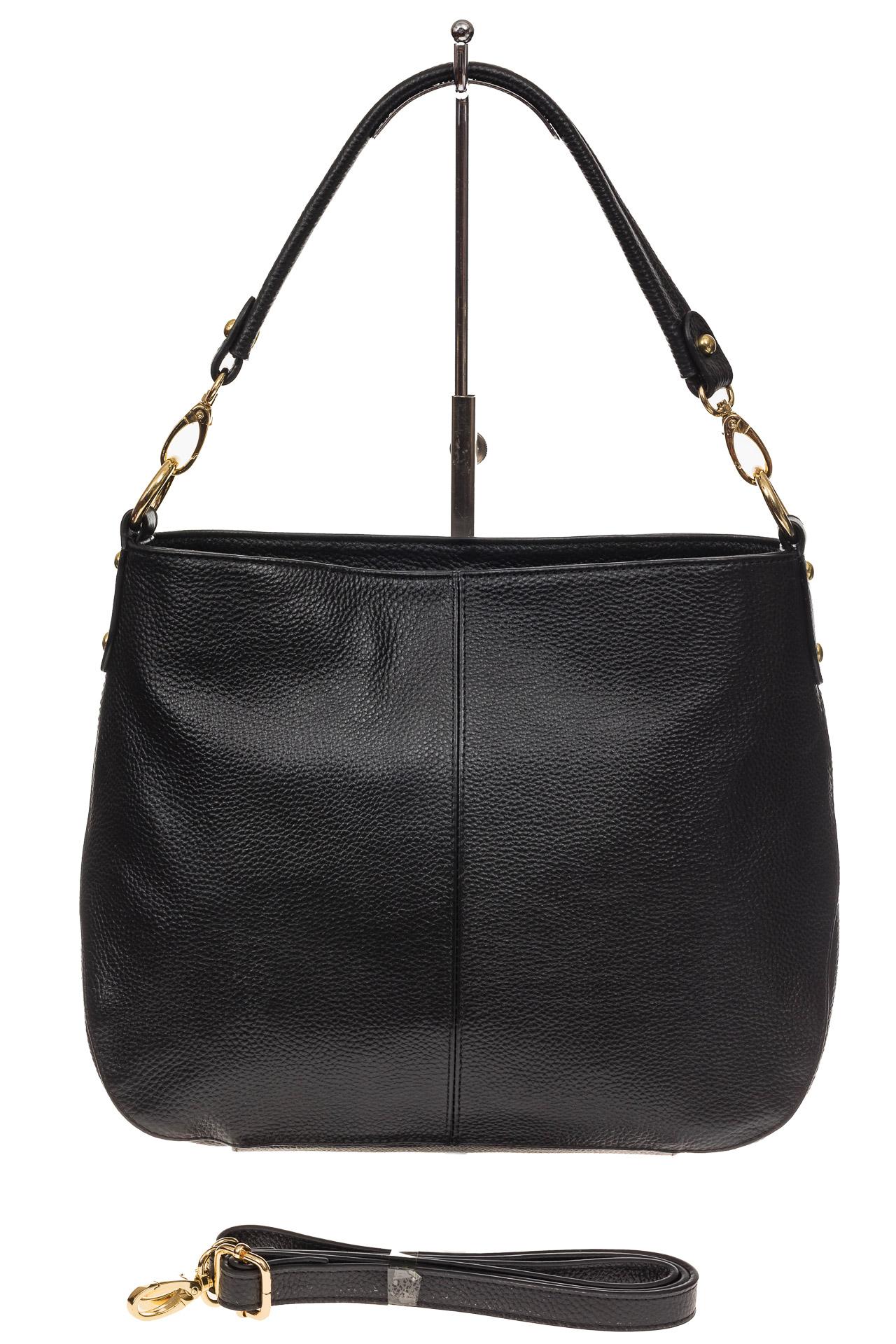 На фото 2 - Женская сумка из натуральной зернистой кожи, цвет черный