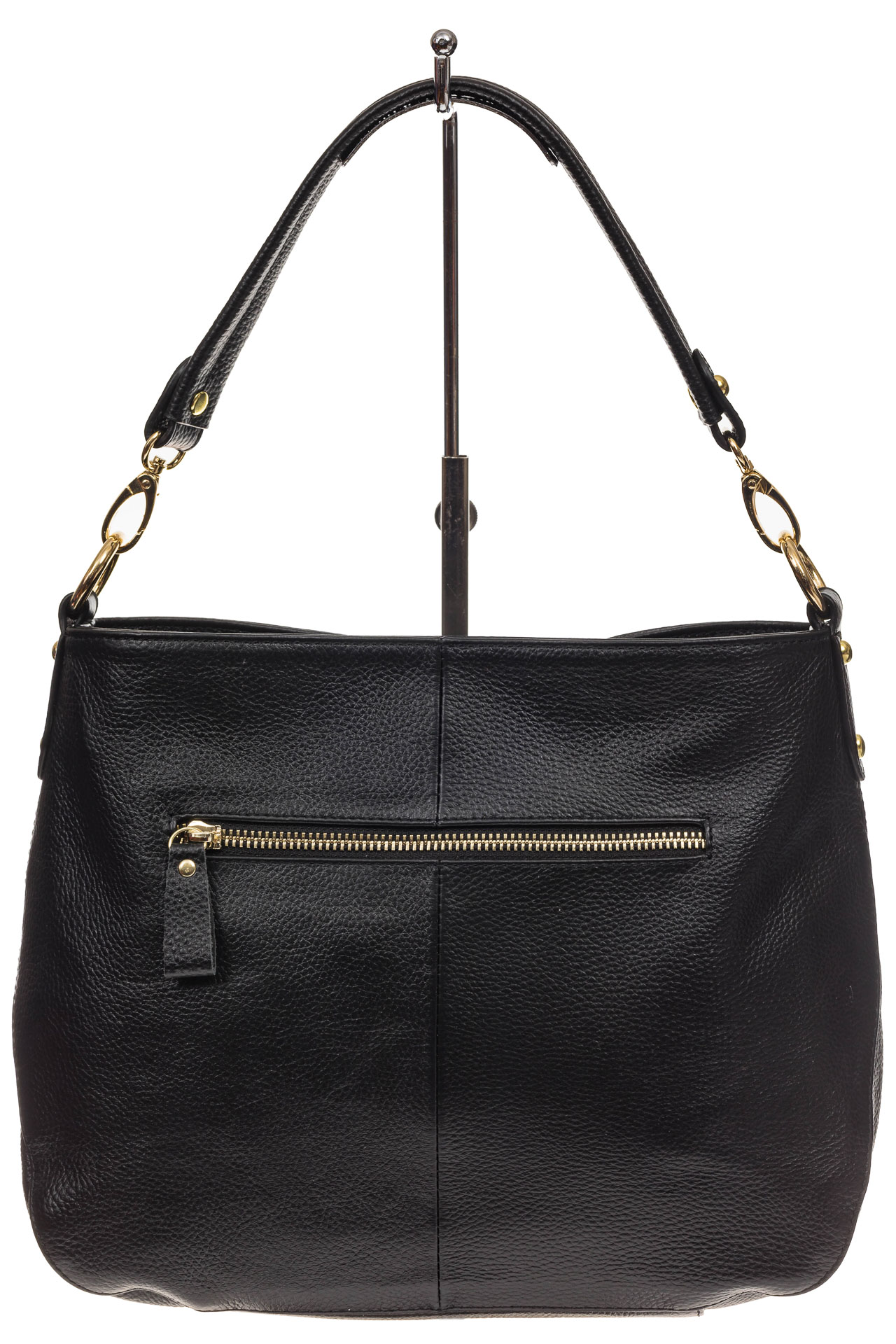 На фото 3 - Женская сумка из натуральной зернистой кожи, цвет черный