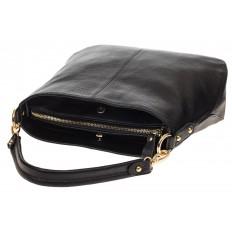 На фото 4 - Женская сумка из натуральной зернистой кожи, цвет черный