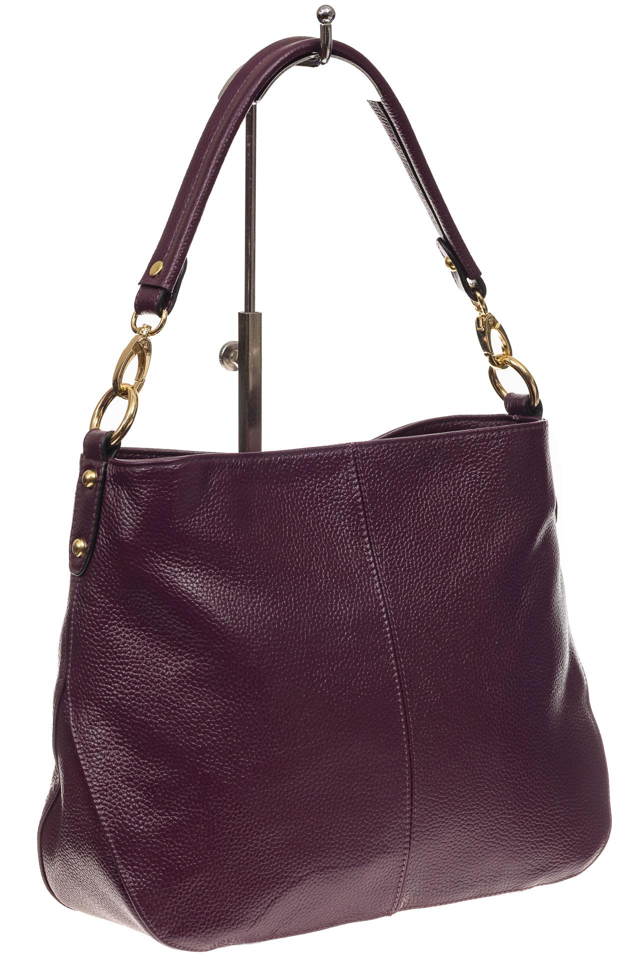 На фото 1 - Женская сумка из натуральной зернистой кожи, цвет баклажан