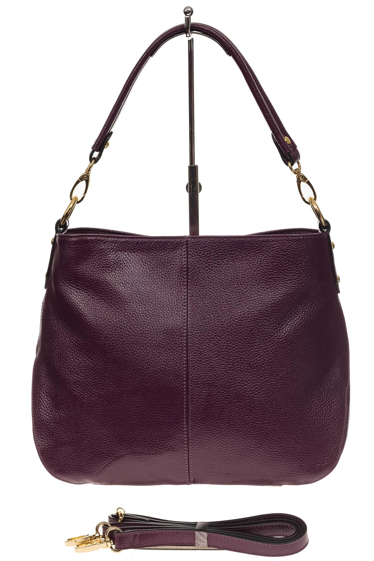 На фото 2 - Женская сумка из натуральной зернистой кожи, цвет баклажан