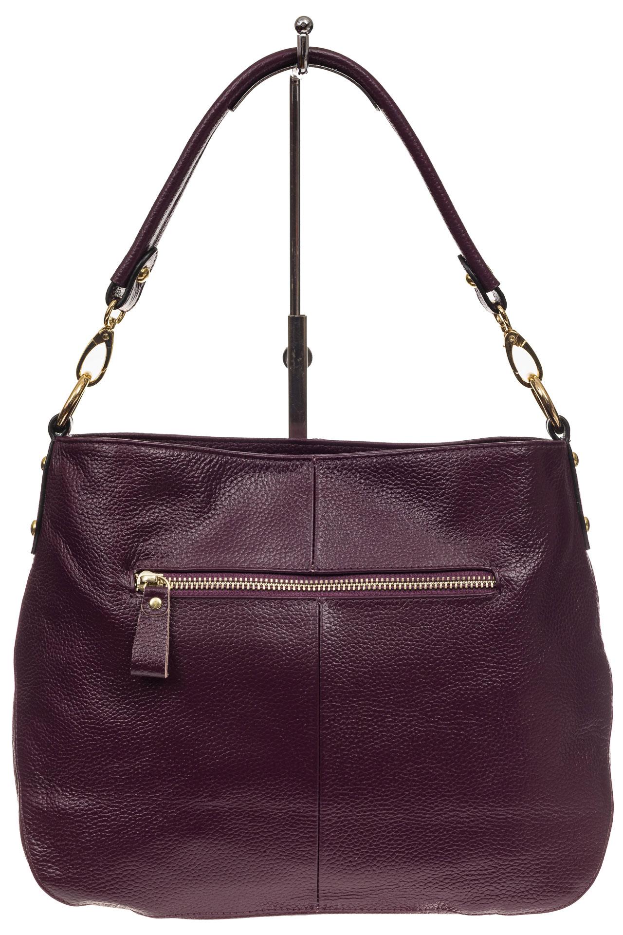 На фото 3 - Женская сумка из натуральной зернистой кожи, цвет баклажан