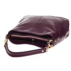 На фото 4 - Женская сумка из натуральной зернистой кожи, цвет баклажан