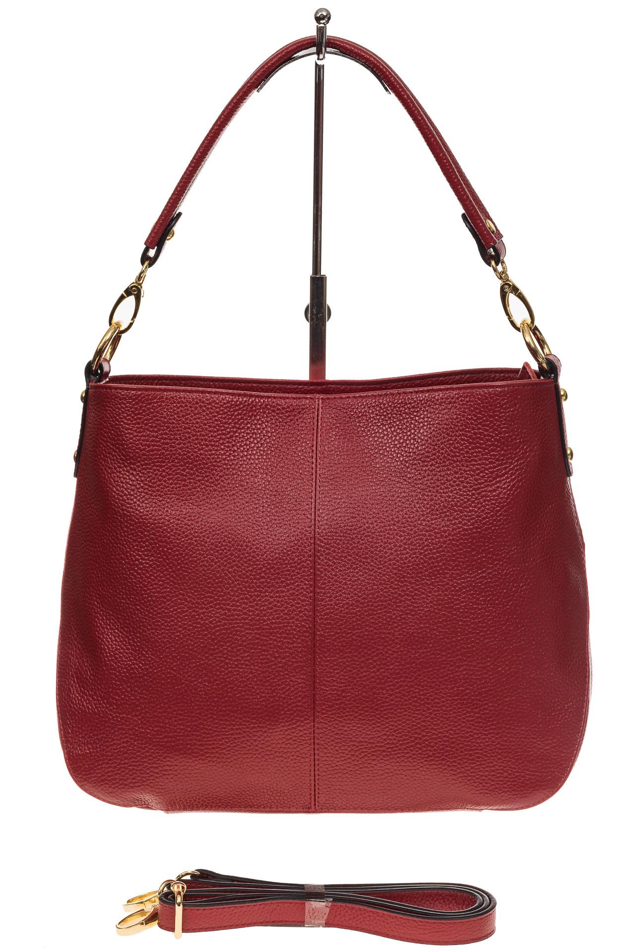 На фото 2 - Женская сумка из натуральной зернистой кожи, цвет красный