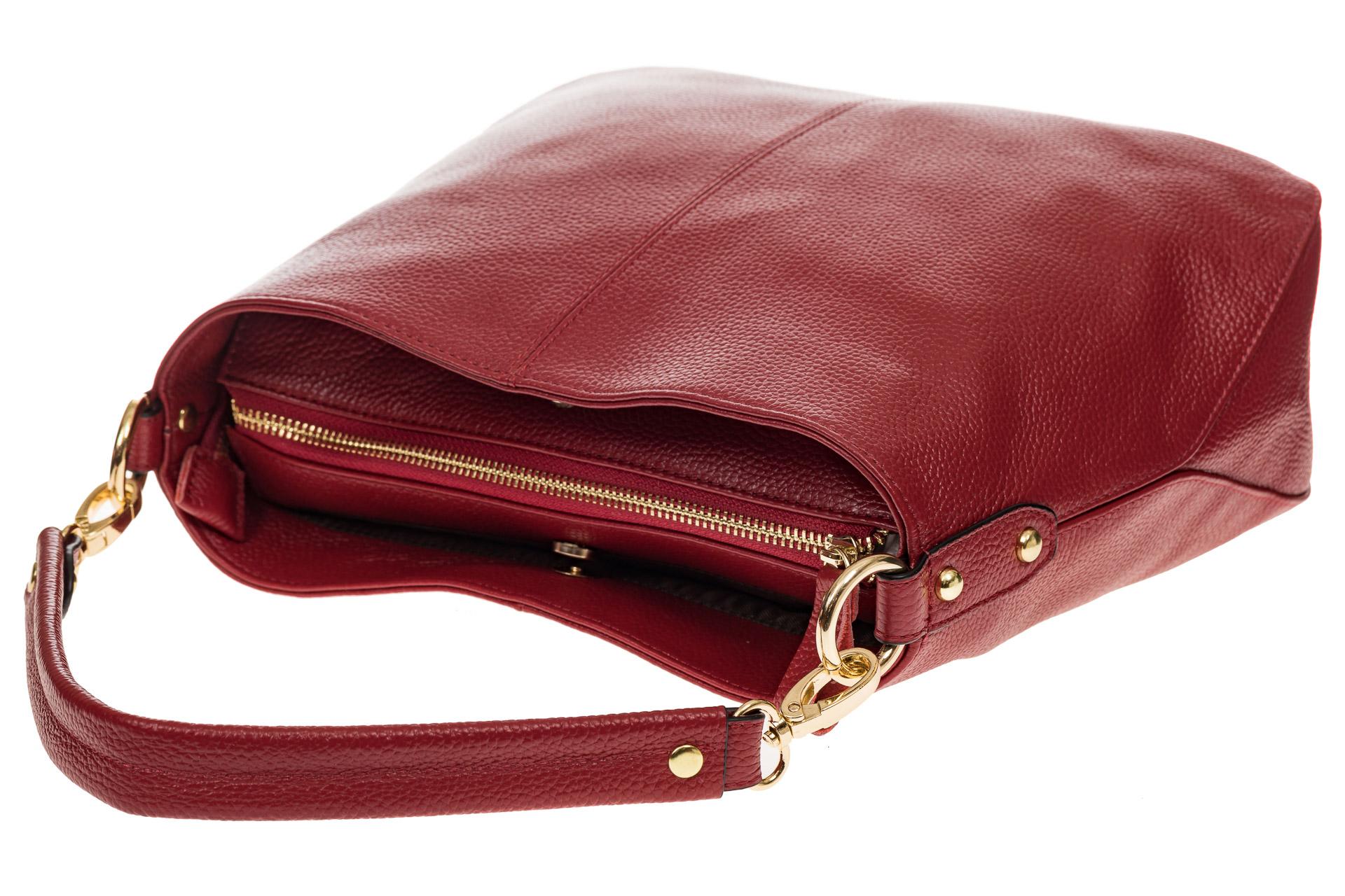 На фото 4 - Женская сумка из натуральной зернистой кожи, цвет красный