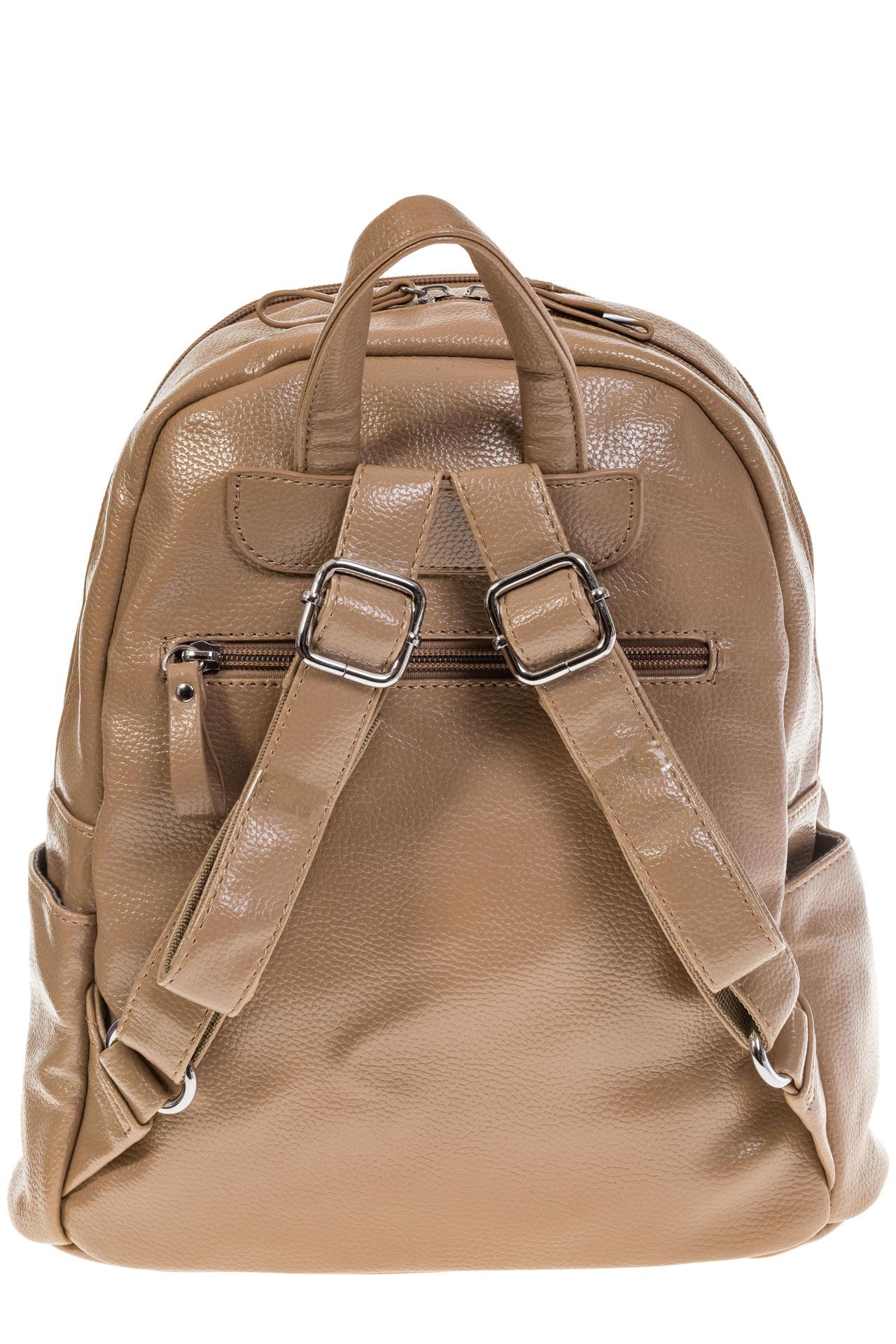 На фото 3 - Бежевый рюкзак из искусственной кожи с двумя отделениями