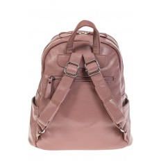На фото 3 - Розовый рюкзак из искусственной кожи с двумя отделениями