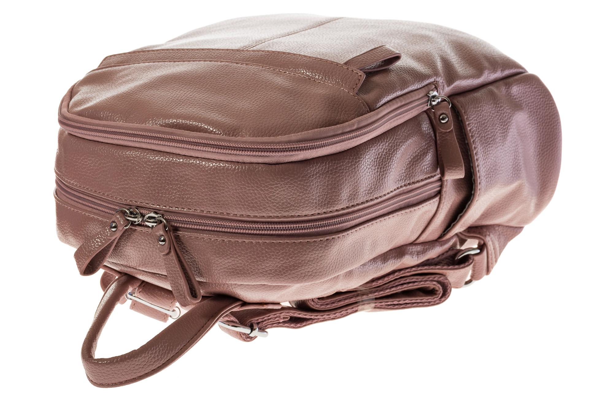 На фото 4 - Розовый рюкзак из искусственной кожи с двумя отделениями