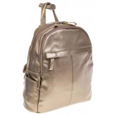 На фото 1 - Золотой рюкзак из искусственной кожи с двумя отделениями
