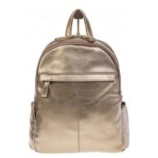 На фото 2 - Золотой рюкзак из искусственной кожи с двумя отделениями