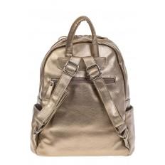 На фото 3 - Золотой рюкзак из искусственной кожи с двумя отделениями