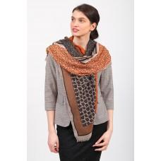 На фото 1 - Палантин-шарф из с растительными мотивами, оранжевый