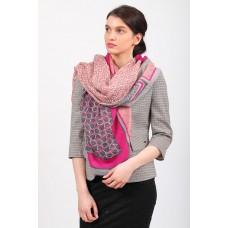 На фото 1 - Розовый палантин-шарф платок с растительными мотивами