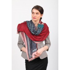 На фото 1 - Элитный палантин-шарф платок с растительными мотивами, красный