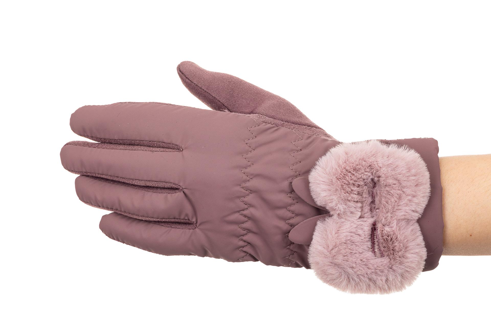 На фото 1 - Перчатки женские с искусственным мехом, цвет сиреневый