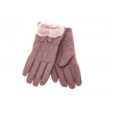 На фото 2 - Перчатки женские с искусственным мехом, цвет сиреневый