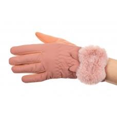 На фото 1 - Стильные перчатки женские зимние с мехом, цвет розовый