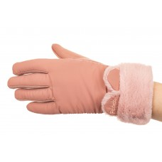 На фото 1 - Элегантные перчатки женские зимние с мехом, цвет розовый