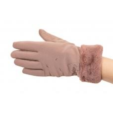 На фото 1 - Комбинированные перчатки женские, размер onesize, цвет пудра